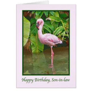 Cumpleaños, flamenco rosado, yerno tarjeta de felicitación