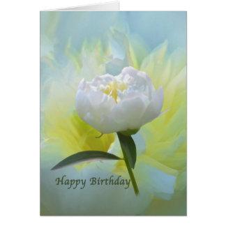 Cumpleaños, flor blanca del Peony Tarjeta De Felicitación
