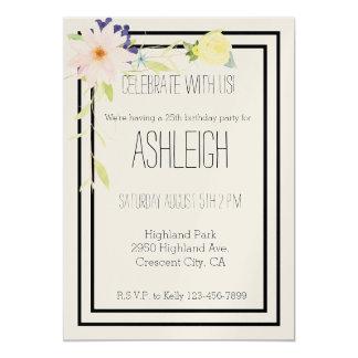 Cumpleaños floral de la acuarela amarilla rosada invitación 12,7 x 17,8 cm