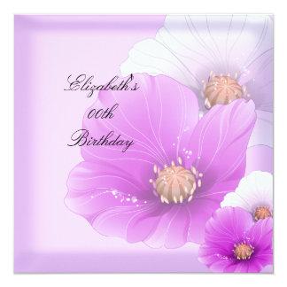 Cumpleaños floral de las flores rosadas elegantes invitación 13,3 cm x 13,3cm