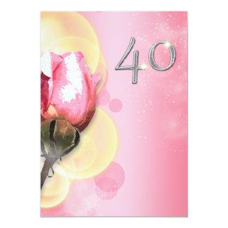 Cumpleaños floral del amarillo 40.o rosados invitación 12,7 x 17,8 cm