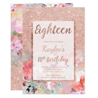 Cumpleaños floral del falso brillo color de rosa invitación 12,7 x 17,8 cm