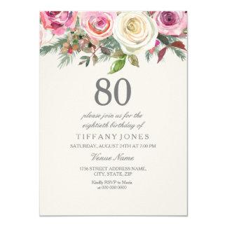 Cumpleaños floral elegante del rosa blanco el 80.o invitación 11,4 x 15,8 cm