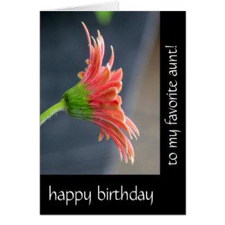 Cumpleaños floral para la tía, margarita rosada tarjeta de felicitación