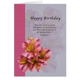 Cumpleaños, flores del Alstroemeria, religiosas, Tarjeta