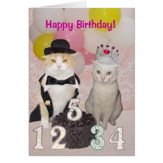 Cumpleaños formal de los gatos tarjeta de felicitación