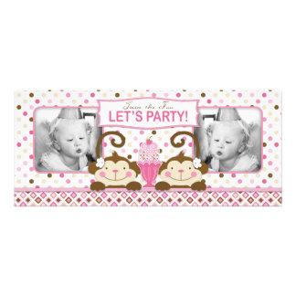 Cumpleaños gemelo del helado de los monos y del he invitación