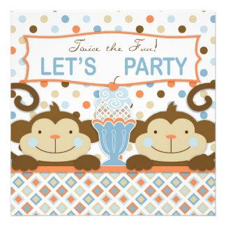 Cumpleaños gemelo del helado de los monos y del he invitacion personalizada