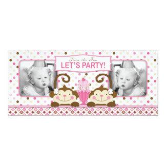 Cumpleaños gemelo del helado de los monos y del invitación