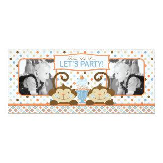 Cumpleaños gemelo del helado de los monos y del invitación 10,1 x 23,5 cm