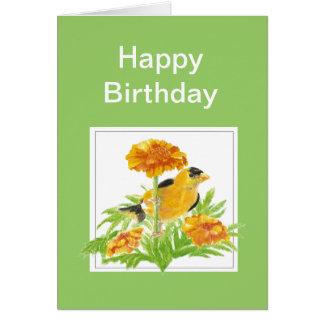Cumpleaños, Goldfinch y maravilla del humor Tarjeta