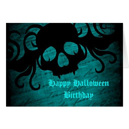Cumpleaños gótico de Halloween del cráneo de la fa Tarjeton