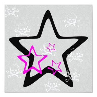 Cumpleaños gótico del dulce 16 de las estrellas y invitación 13,3 cm x 13,3cm