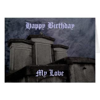 Cumpleaños gótico divertido del cementerio tarjeta de felicitación