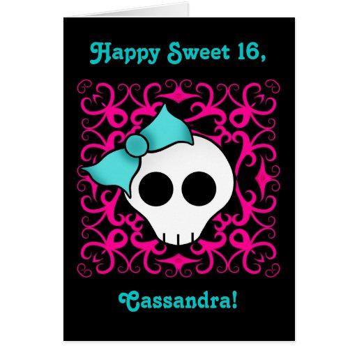 Cumpleaños gótico lindo del cráneo para el dulce 1 felicitaciones