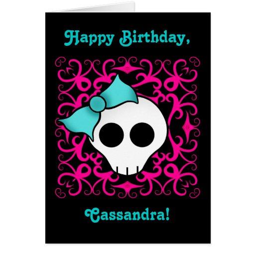 Cumpleaños gótico lindo del cráneo para el tween o tarjetas