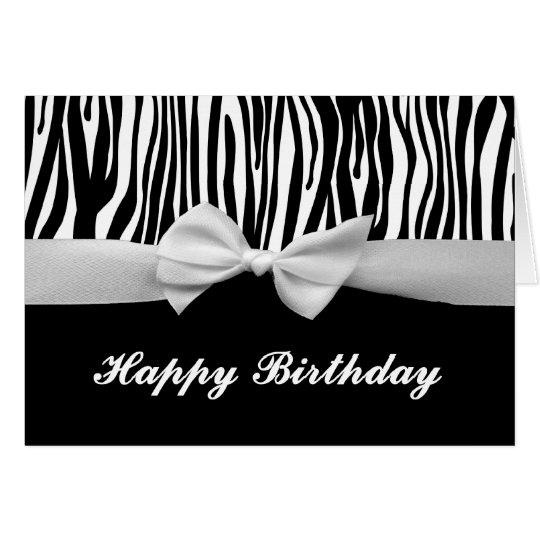 Cumpleaños gráfico de la raya de la cebra y de la tarjeta de felicitación