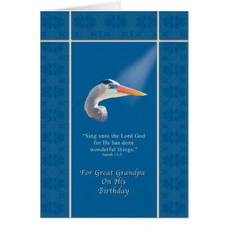 Cumpleaños, gran abuelo, garza religiosa, azul tarjeta de felicitación