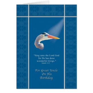 Cumpleaños, gran tío, garza religiosa, azul tarjeta de felicitación