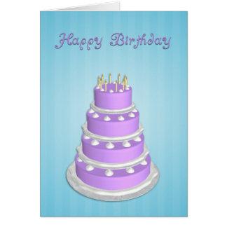 Cumpleaños grande de la torta Tarjeta-Azul Tarjeta De Felicitación