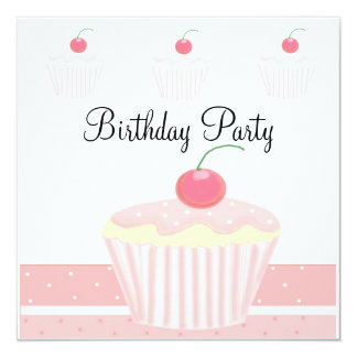 Cumpleaños helado rosa de la magdalena invitación 13,3 cm x 13,3cm