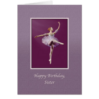Cumpleaños, hermana, bailarina en púrpura tarjetas