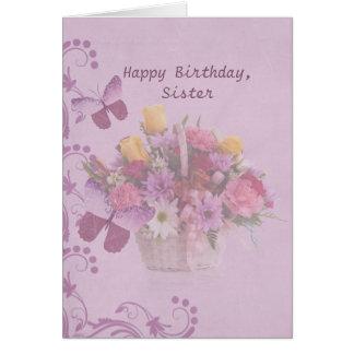 Cumpleaños, hermana, cesta de flores tarjeta de felicitación