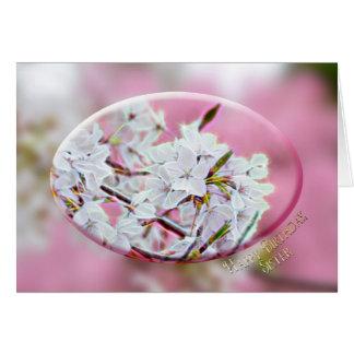 CUMPLEAÑOS - hermana - flores de Apple - rosa Tarjeta De Felicitación