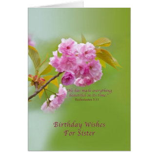 Cumpleaños, hermana, flores de cerezo, religiosas tarjeta de felicitación