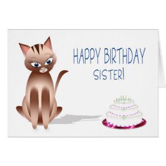 CUMPLEAÑOS - hermana - gato del gatito - torta Tarjeta De Felicitación