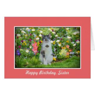 Cumpleaños, hermana, gato entre las flores tarjeta de felicitación