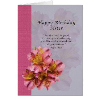 Cumpleaños, hermana, religiosa, flores del tarjeta de felicitación