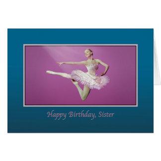 Cumpleaños, hermana, saltando a la bailarina tarjeta