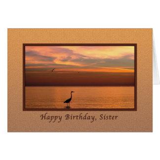 Cumpleaños hermana vista al mar en la puesta del felicitación