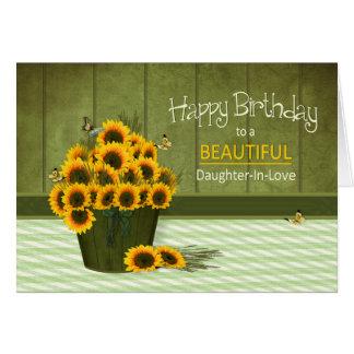 Cumpleaños - Hija-en-Amor - cubo de girasoles Tarjeta De Felicitación