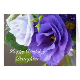 Cumpleaños-Hija feliz flores púrpuras Tarjetón