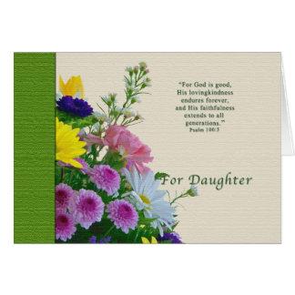 Cumpleaños, hija, ramo floral, religioso tarjetas
