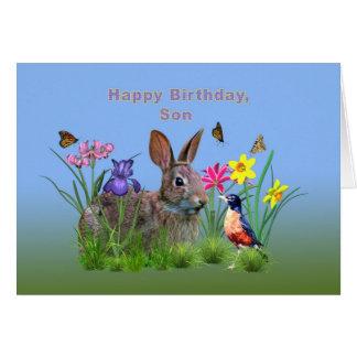 Cumpleaños, hijo, conejito, mariposas, petirrojo tarjeta de felicitación