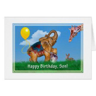 Cumpleaños, hijo, elefante, jirafa tarjeta de felicitación