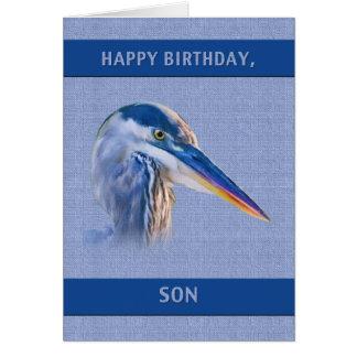 Cumpleaños, hijo, garza de gran azul tarjeta de felicitación