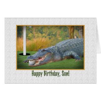 Cumpleaños, hijo, golf, cocodrilo tarjeta de felicitación