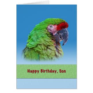 Cumpleaños, hijo, loro verde tarjetas