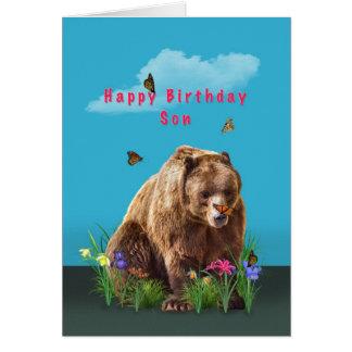 Cumpleaños, hijo, oso y mariposas tarjeta de felicitación