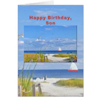 Cumpleaños, hijo, playa y tarjeta de la vista al