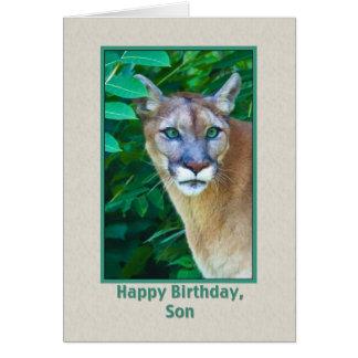 Cumpleaños, hijo, puma en la selva tarjeta de felicitación