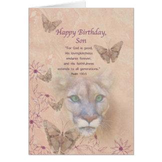 Cumpleaños, hijo, puma y mariposas tarjeta de felicitación