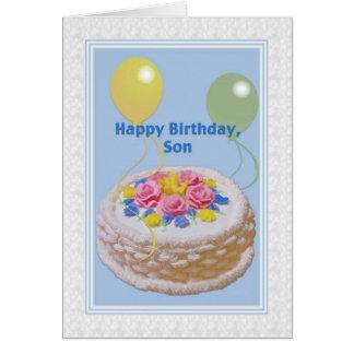 Cumpleaños, hijo, torta y globos tarjeta de felicitación