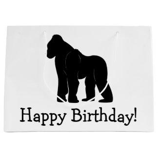 Cumpleaños iHappy del gorila Bolsa De Regalo Grande