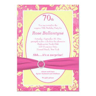 Cumpleaños IMPRESO del amarillo del rosa de la Invitación 12,7 X 17,8 Cm