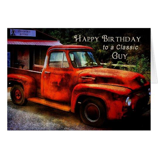 Cumpleaños - individuo clásico - camión del tarjeta de felicitación